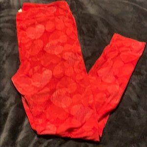 Lularoe red heart print leggings TC